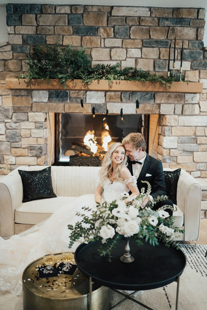 Green, black, and white styled shoot at Hearth House Hearth House