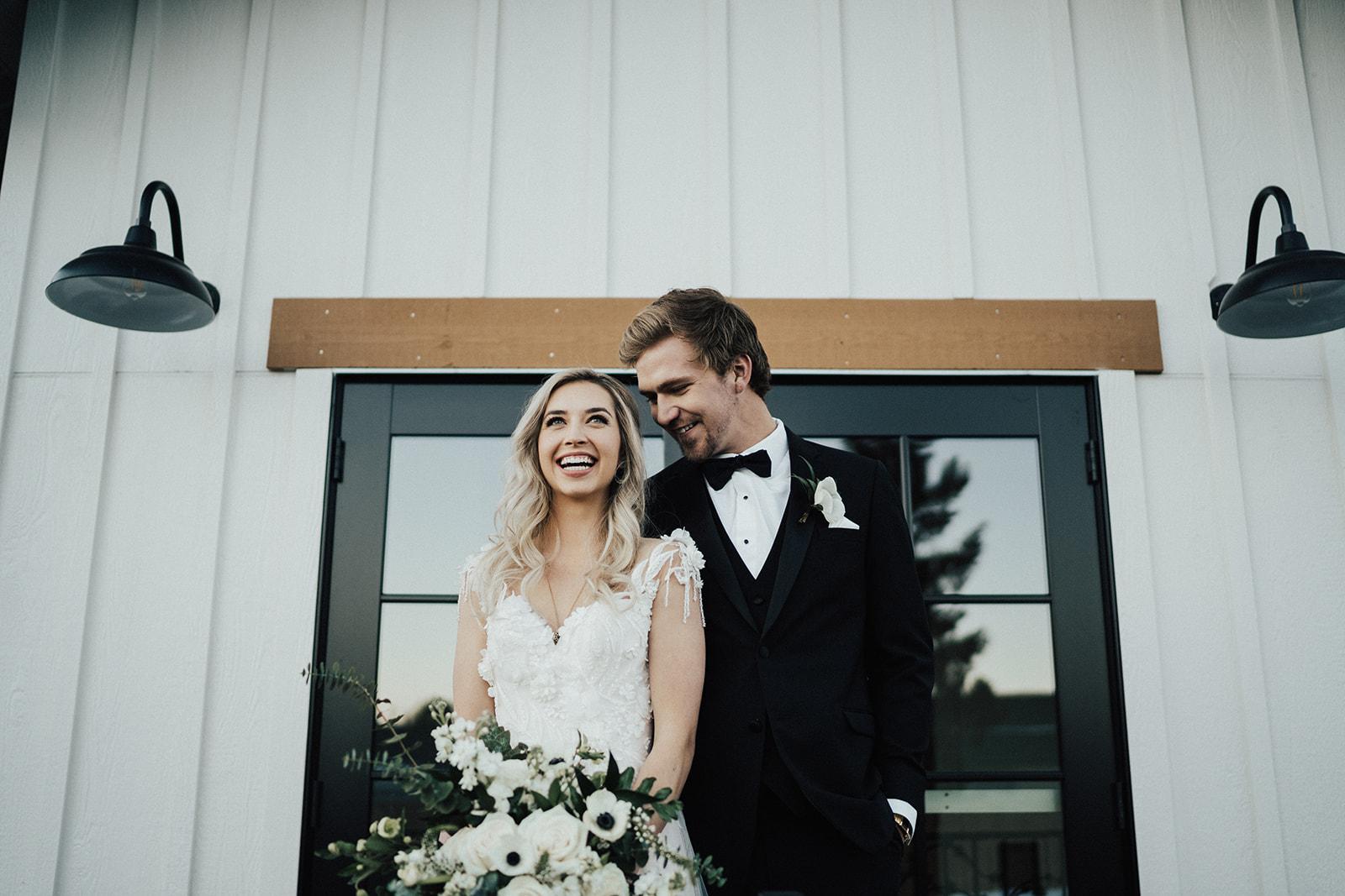 Bride and Groom on Hearth House Patio Hearth House