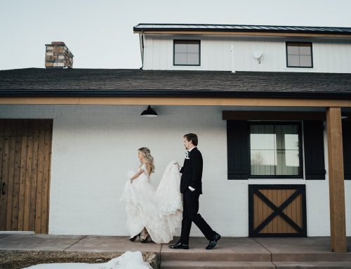 Bride and Groom on Hearth House Patio