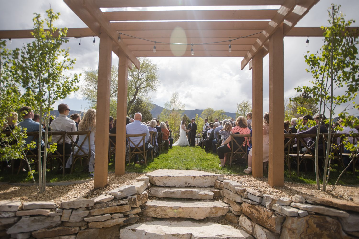 Outdoor Wedding Ceremony Wooden Arch at Hearth House - Gunn Wedding 2019 Hearth House