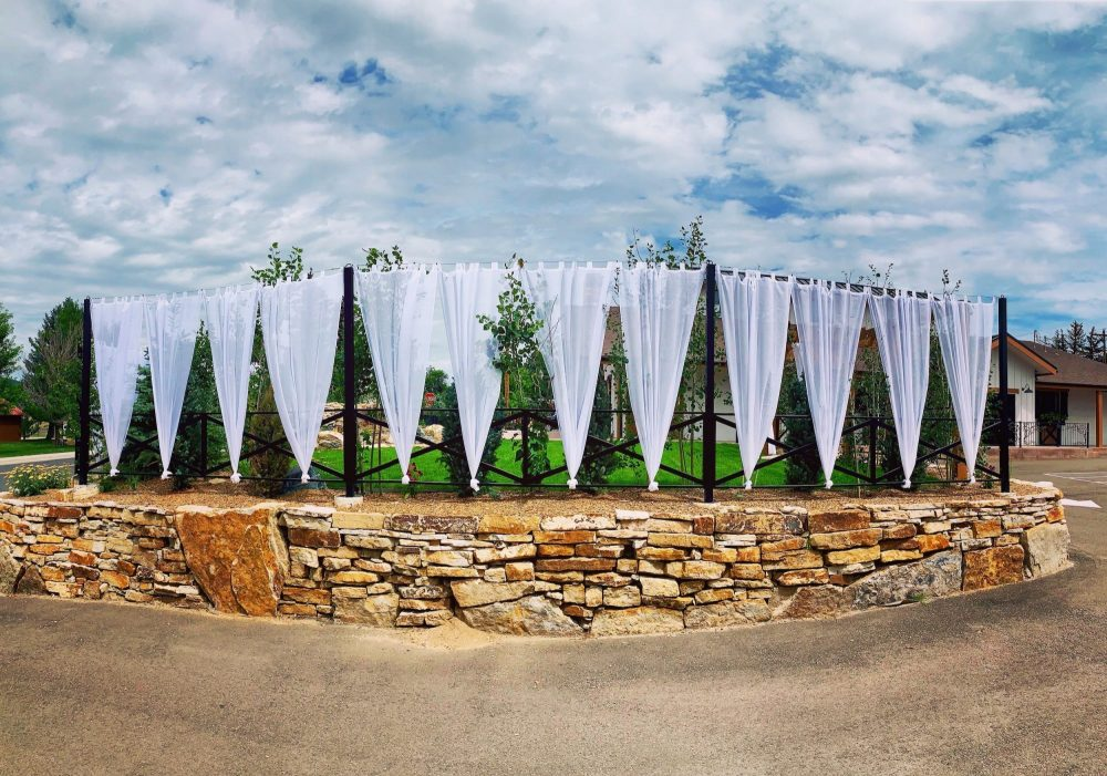 Outdoor Ceremony Area with Draping at Hearth House Hearth House